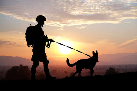 Silhouettes of soldier and dog on sunset background. Military service concept.