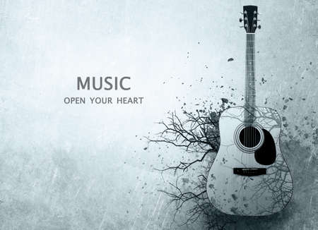 Acoustic guitar with leafless tree branches on gray background. Text MUSIC OPEN YOUR HEART. Creative art work concept.