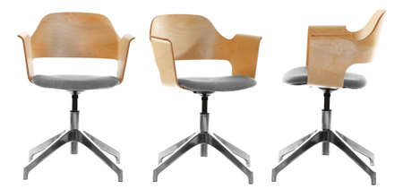 Collage of modern office chair on white background