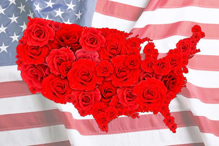 Floral design of USA map on national flag background Stock Photo