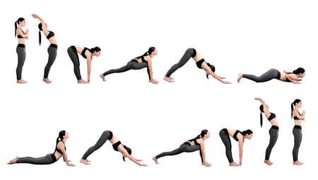 Young woman practicing yoga, white background. Sport concept. Archivio Fotografico