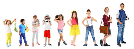 Collage of cute children on white background Foto de archivo