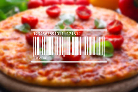 sell: Barcode on blurred pizza background. Wholesale and retail concept. Stock Photo