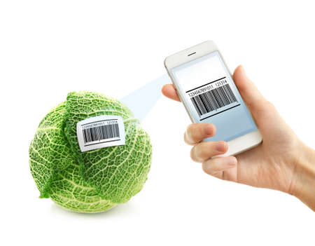 Woman using application for scanning barcode, closeup. White background Stock Photo