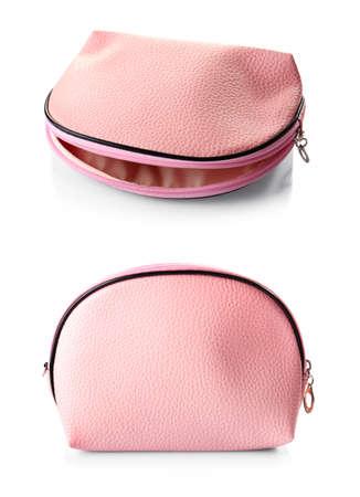 Stylish cosmetic bag on white background 스톡 콘텐츠