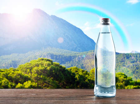 Flasche klares Wasser auf Holztisch gegen Naturhintergrund Standard-Bild