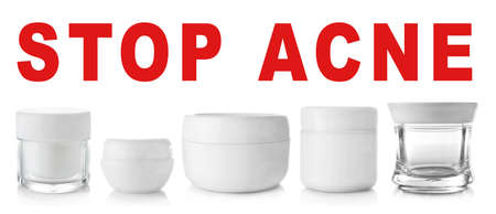 Products for facial treatment and text STOP ACNE on white background