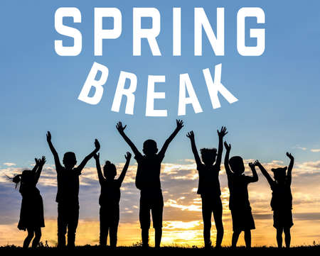 Text SPRING BREAK and children silhouettes on sunset background. Additional education concept