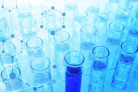 Health care concept. Test tubes, blue tone