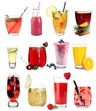 Delicious cocktails on white background Stock fotó