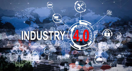 Text INDUSTRY 4.0  and internet network on cityscape background