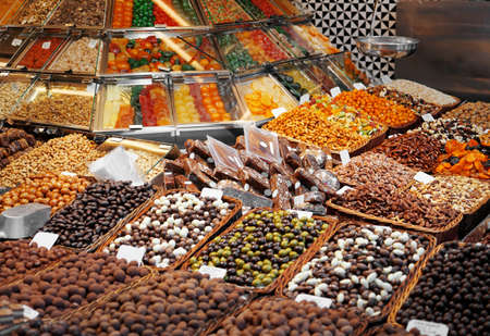 Assortment of sweets at market