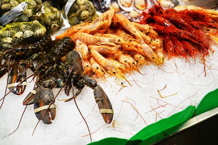 Fresh seafood at market Stock Photo