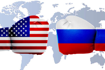 Governments conflict concept. Boxing gloves colored in USA and Russian flags on world map background
