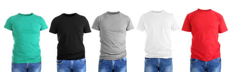 Different male t-shirts on white background