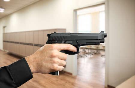 Man with gun at hall