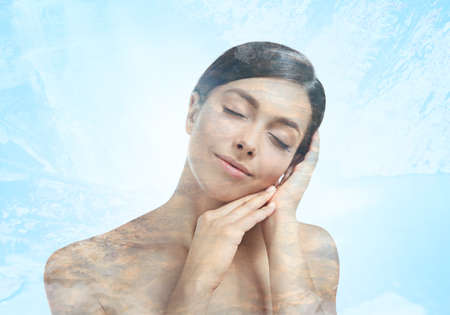 Double exposure of beautiful young woman and water background. Spa concept.