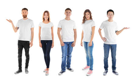 Young people wearing different t-shirts on white background Stock Photo