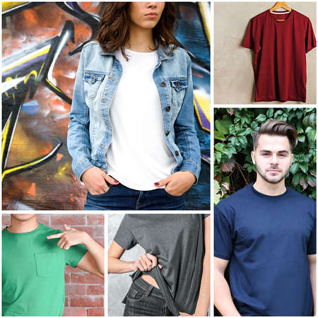 Collage of stylish and trendy t-shirts