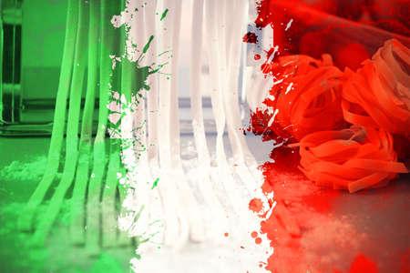 Italian flag on pasta background