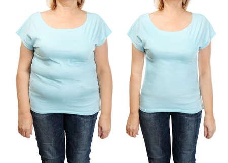 El cuerpo de la mujer madura antes y después de weightloss en el fondo blanco. Concepto de salud y dieta.% 00 Foto de archivo