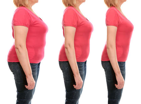 Mature woman's body before and after weightloss on white background. Health care and diet concept. Stock fotó - 90615365
