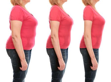 O corpo da mulher madura antes e depois da perda de peso no fundo branco. Conceito de cuidados de saúde e dieta.