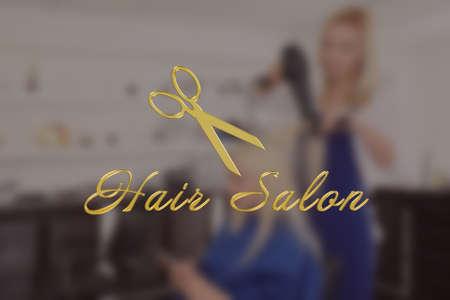 Text HAIR SALON on blurred background