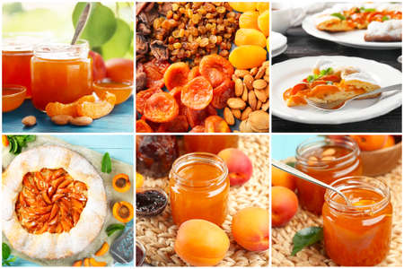 Collage with different ideas of using apricots in culinary Stock Photo