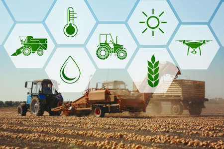 Icons and process of harvesting with modern agricultural equipment on background. Concept of smart agriculture and modern technology