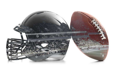 Double exposure of rugby ball with helmet and stadium on white background