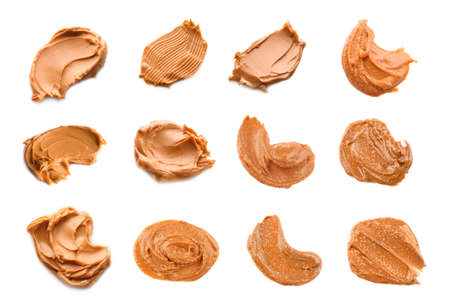 Collage of peanut butter on white background