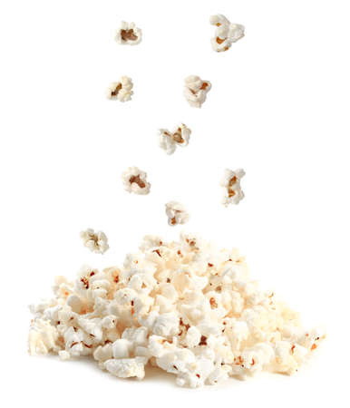 Tasty popcorn on white background Banco de Imagens