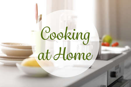 Cooking at home concept. Kitchen interior background