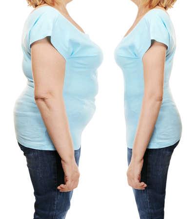 Körper der reifen Frau vor und nach weightloss auf weißem Hintergrund. Gesundheitswesen- und Diätkonzept.% 00