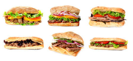Delicious sandwiches on white background