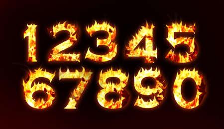 Burning numbers on black background Stock Photo