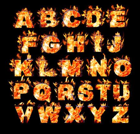Burning alphabet on black background