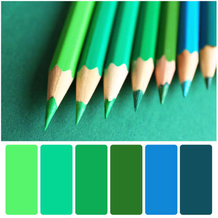 Color palette and pencils on green background