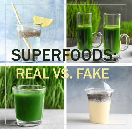 Collage with different fake or real superfoods
