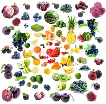 Collage van verschillende vruchten en bessen op witte achtergrond% 00 Stockfoto