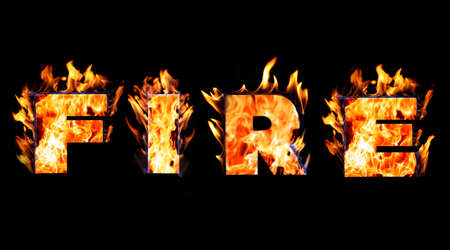 Burning word FIRE on black background Stock Photo