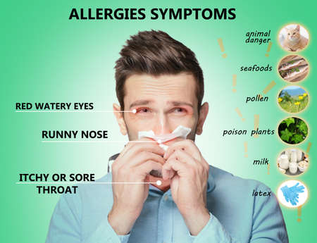 Sick man and list of allergies symptoms and causes on green background