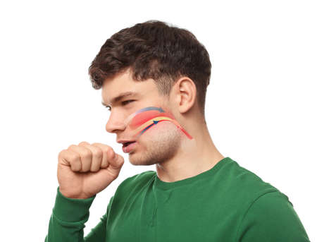 Young man with illustration of throat on white background. Asthma concept Stock Photo
