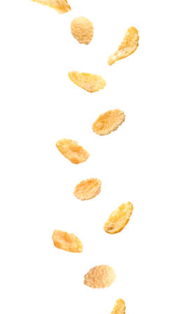 Falling corn flakes on white background Imagens - 90676639