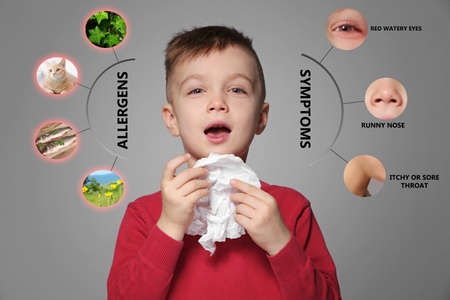 Sick little boy and list of allergies symptoms and causes on grey background