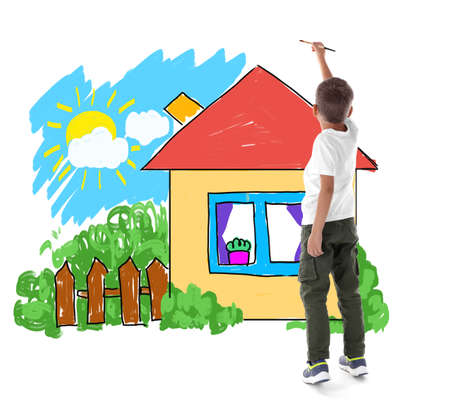 Little boy painting picture on white background Stock Photo