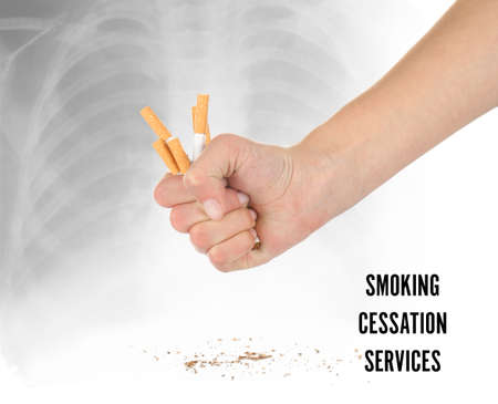 Text SMOKING CESSATION SERVICES and woman crushing cigarettes on light background