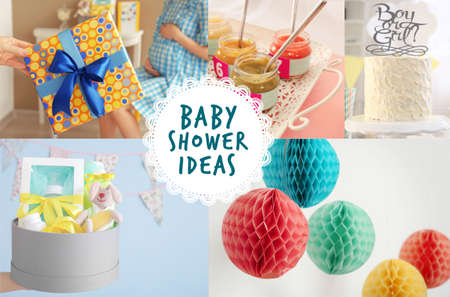 Collage with ideas for baby shower party