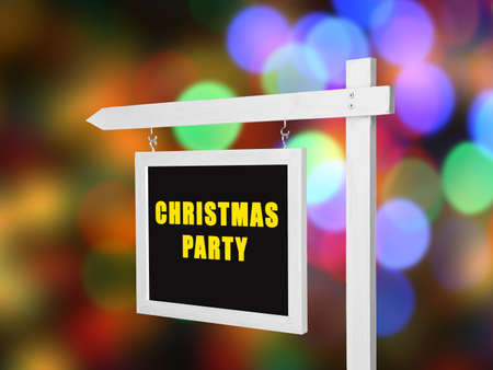 Signboard with text CHRISTMAS PARTY on blurred lights background Stock Photo